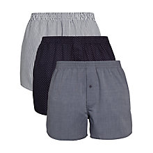 Buy John Lewis Patterned Woven Boxer Shorts, Pack of 3, Navy Online at johnlewis.com