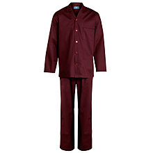 Buy John Lewis Cotton Poplin Dot Pyjamas, Burgundy Online at johnlewis.com