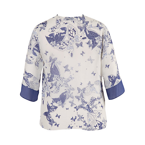 Buy Chesca Butterfly Print Contrast Trim Shrug, Ivory/blue Online at johnlewis.com
