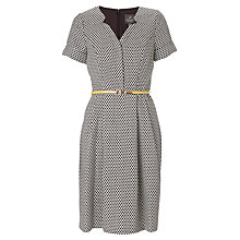 Buy Adrianna Papell Jacquard Belted Shirt Dress, Black Online at johnlewis.com