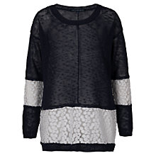 Buy French Connection Laila Lace Panel Jumper, Utility Blue Online at johnlewis.com