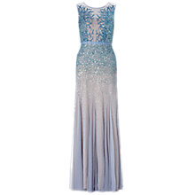 Buy Adrianna Papell Long Bead Gown With Illusion Neck, Sky Blue Online at johnlewis.com