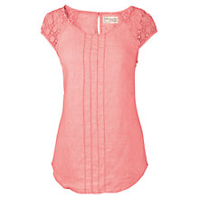 Buy Fat Face Linen Crochet Sleeve Top, Tea Rose Online at johnlewis.com