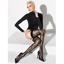 Buy Wolford Evelyn Hold-Ups, Black Online at johnlewis.com