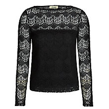 Buy Somerset by Alice Temperley Deco Lace Tee, Black Online at johnlewis.com
