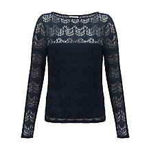 Buy Somerset by Alice Temperley Deco Lace Tee, Navy Online at johnlewis.com
