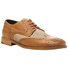 Buy Bertie Aston 2 Leather & Canvas Brogues, Brown/Cream Online at johnlewis.com