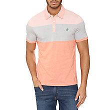 Buy Original Penguin Three Stripe Colour Block Polo Shirt, Coral Almond Online at johnlewis.com