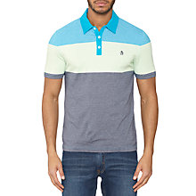 Buy Original Penguin Three Stripe Colour Block Polo Shirt, Atomic Blue Online at johnlewis.com