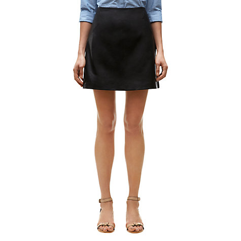 Buy Whistles Leather A-Line Skirt, Black Online at johnlewis.com