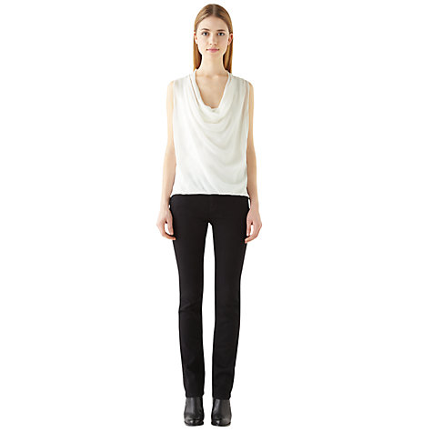 Buy Jigsaw Silk Front Cowl Neck Top, Ivory Online at johnlewis.com