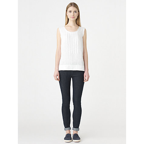 Buy Jigsaw Linen Ruffle Front Top Online at johnlewis.com