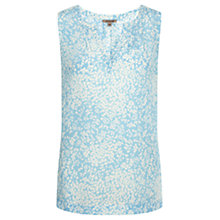 Buy Jigsaw Spring Leaf V-Neck Silk Top, Blue Online at johnlewis.com