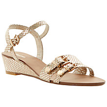 Buy Dune Gail Leather Wedge Sandals, Gold Online at johnlewis.com