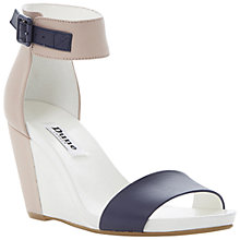Buy Dune Gwens Leather Wedge Heeled Sandals, Black/White Online at johnlewis.com