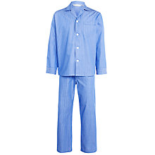 Buy Derek Rose Woven Cotton Stripe Pyjamas, Blue/White Online at johnlewis.com