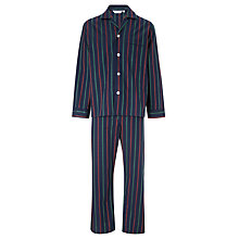 Buy Derek Rose Woven Cotton Stripe Pyjamas, Navy/Red/Green Online at johnlewis.com