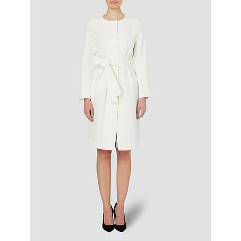 Buy Jaeger Belted Dress Coat, White Online at johnlewis.com