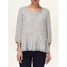 Buy Phase Eight Jill Spot Pleated Blouse, Navy/Ivory Online at johnlewis.com