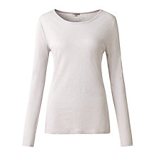 Buy Jigsaw Pigment Dyed Long Sleeve Crew Tee, Light Grey Online at johnlewis.com