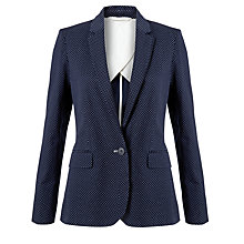 Buy Jigsaw Polka Dot Single Breasted Jacket, Navy Online at johnlewis.com