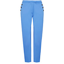 Buy Jaeger Cotton Button Pocket Capri Trousers, China Blue Online at johnlewis.com