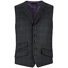 Buy Ted Baker Endurance Flannel Overcheck Tailored Waistcoat, Grey/Blue Online at johnlewis.com