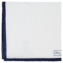 Buy Reiss Yacht Piped Linen Pocket Square, White/Navy Online at johnlewis.com