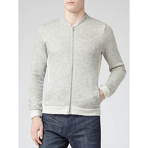 Buy Reiss Rhyme Full-Zip Cotton Bomber Jacket, Light Grey Online at johnlewis.com