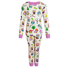 Buy Hatley Girls' Owl Print Long Sleeve Pyjamas, Cream Online at johnlewis.com