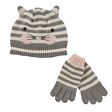 Buy John Lewis Cat Stripe Hat and Gloves Set, Grey/Cream Online at johnlewis.com