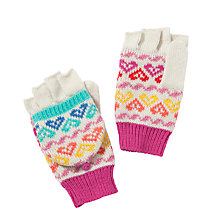 Buy John Lewis Heart Patterned Flip-Top Gloves, Multi Online at johnlewis.com