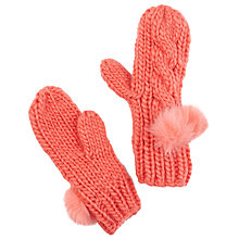 Buy John Lewis Girl Cable Knit Gloves, Coral Online at johnlewis.com