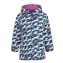 Buy Hatley Girl's Reversible Horse Puffer Coat, Navy/Pink Online at johnlewis.com