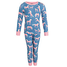 Buy Hatley Girls' Horse Print Long Sleeve Pyjamas, Blue Online at johnlewis.com