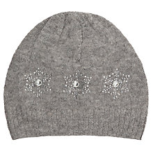Buy John Lewis Girl Snowflake Beanie Hat, Grey Online at johnlewis.com