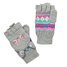 Buy John Lewis Girl Rabbit Fair Isle Flip-Top Gloves, Grey Online at johnlewis.com