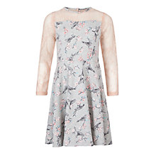 Buy Loved & Found Girl's Bird Lace Trim Dress, Grey/Pink Online at johnlewis.com