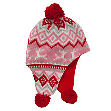 Buy John Lewis Christmas Fair Isle Trapper Hat, Red Online at johnlewis.com