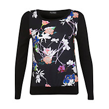 Buy Miss Selfridge Floral Knit Jumper, Black Online at johnlewis.com