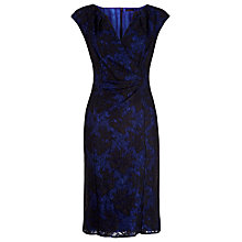 Buy Alexon Lace Detail Cap Sleeve Dress, Multi/Blue Online at johnlewis.com