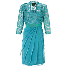Buy Adrianna Papell Short Flutter Dress With Lace Jacket, Eucalyptus Online at johnlewis.com