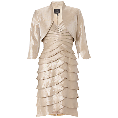 Adrianna Papell Shutter Pleat Dress With Jacket, Champagne