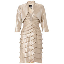 Buy Adrianna Papell Shutter Pleat Dress With Jacket, Champagne Online at johnlewis.com
