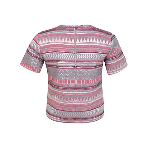 Buy Miss Selfridge Jacquard T-Shirt, Pink Online at johnlewis.com