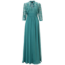 Buy Adrianna Papell Chiffon Gown With Lace Jacket, Eucalyptus Online at johnlewis.com