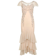Buy Miss Selfridge Embellished Tier Maxi Dress, Nude Online at johnlewis.com