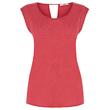Buy Oasis Linen Mix Tail Back T-Shirt, Coral Online at johnlewis.com