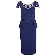 Buy Alexon Lace Peplum Dress, Navy Online at johnlewis.com