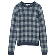 Buy Jigsaw Loose Knit Linen Jacquard Jumper, Grey Online at johnlewis.com